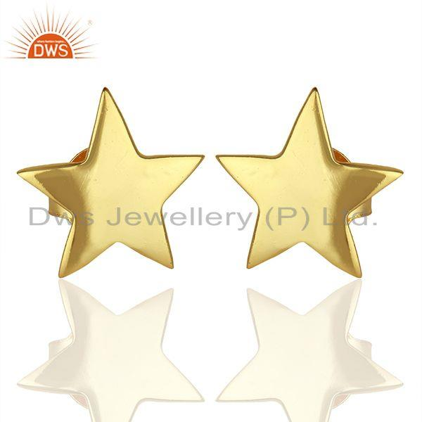 Handmade Gold Plated Sterling Silver Star Charm Stud Earrings Supplier