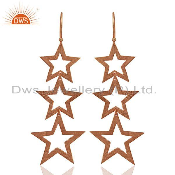 Rose Gold Plated Star Charm Sterling Plain Silver Earrings Wholesaler