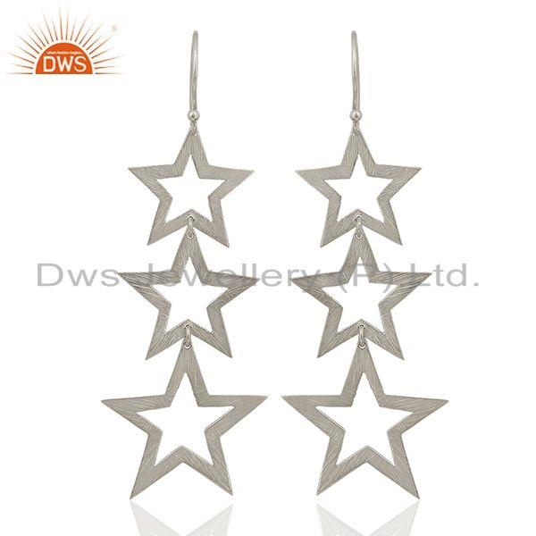 Designer Star Charm Sterling Plain Fine Silver Earrings Wholesaler