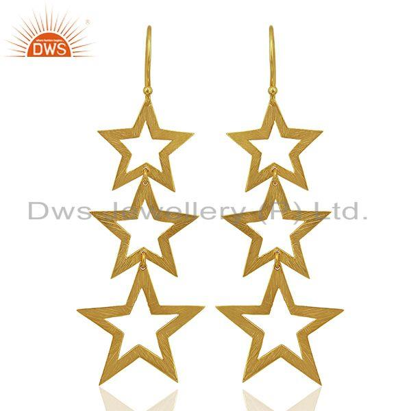 Designer Star Gold Plated Sterling Silver Dangle Earrings Manufacturer
