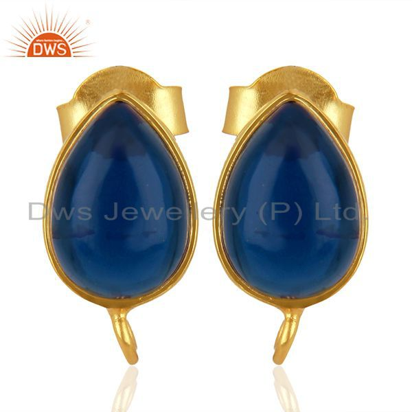Blue Corundum Studs 18K Gold Plated 925 Sterling Silver Jewelry Finding  Jewelry