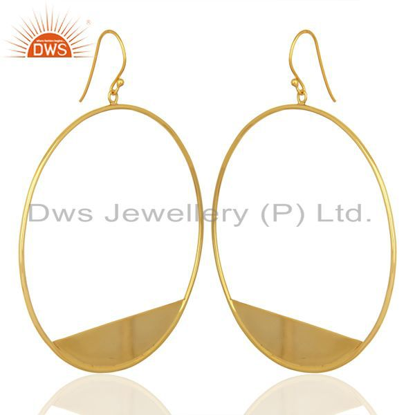 Designer Gold Plated 925 Silver Womens Plain Silver Fashion Earrings
