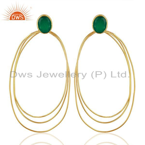 Green Onyx Dangle 14K Gold Plated 925 Sterling Silver Earrings Jewelry