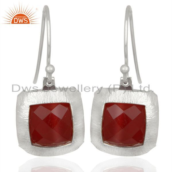 Handmade 925 Sterling Silver Natural red Onyx Gemstone Earrings