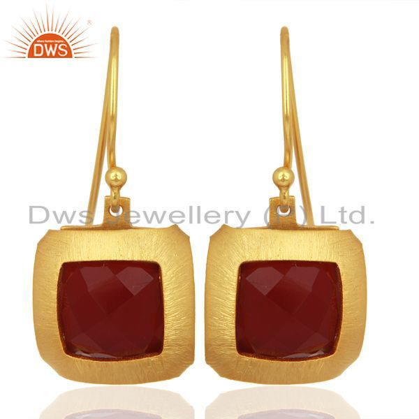 Natural Red Onyx Gemstone Designer Gold Plated Silver Earring