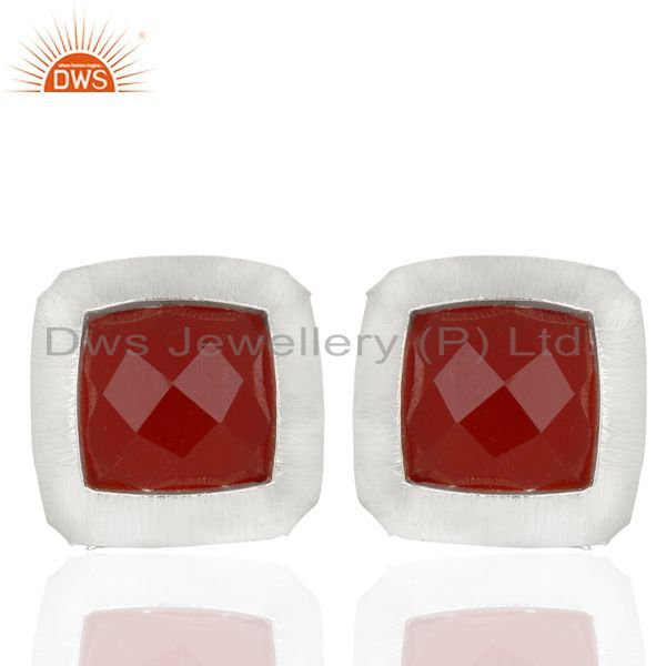 Handmade Sterling Silver Natural Red Onyx Gemstone Stud Earrings