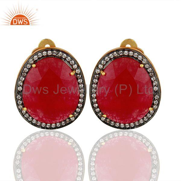 Zircon and red Aventurine Gemstone Stud Earrings Jewelry Supplier