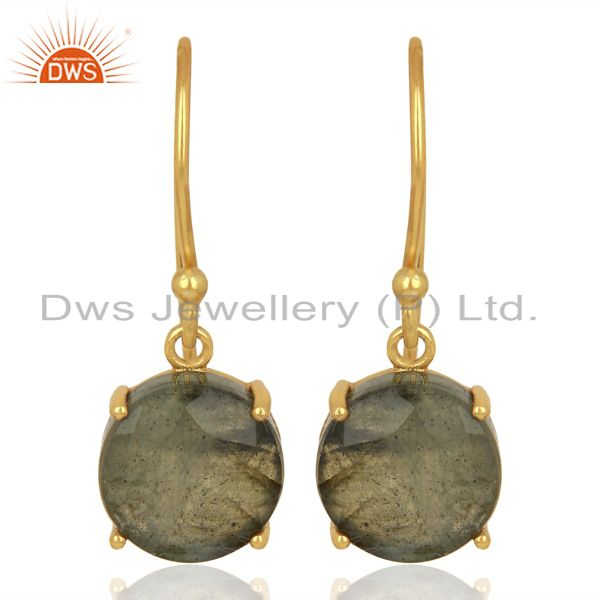 Labradorite Flat Shape Pefect Drop 14K Gold Plated Wholesale 92.5 Silver Earring