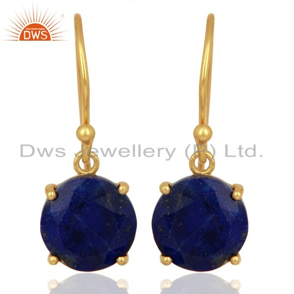 Lapis Flat Shape Pefect Drop 14K Gold Plated Wholesale 92.5 Silver Earring