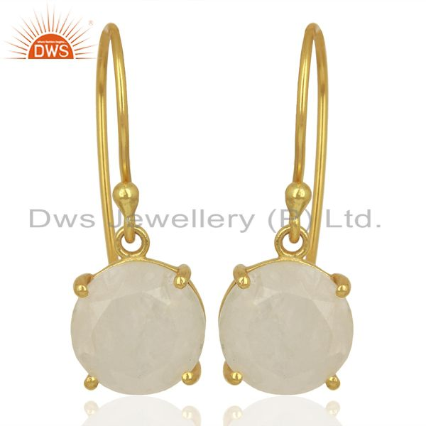 Moonstone Flat Shape Pefect Drop 14K Gold Plated Wholesale Silver Earring
