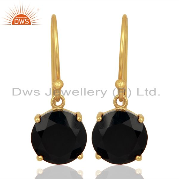 Black Onyx Flat Shape Pefect Drop 14K Gold Plated Wholesale 92.5 Silver Earring