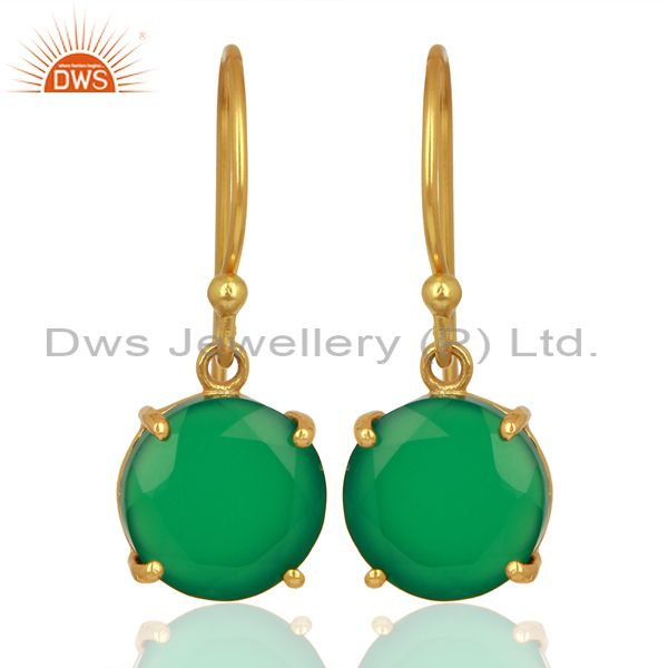 Green Onyx Flat Shape Pefect Drop 14K Gold Plated Wholesale 92.5 Silver Earring