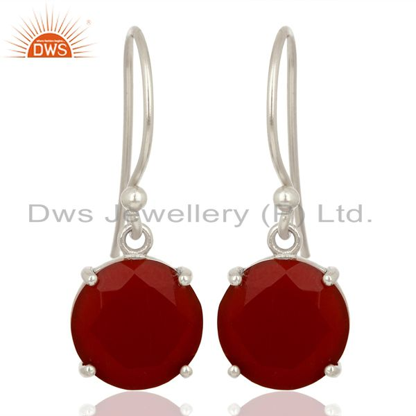 Red Onyx Flat Shape Pefect Drop High Finish Wholesale Sterling Silver Earrings