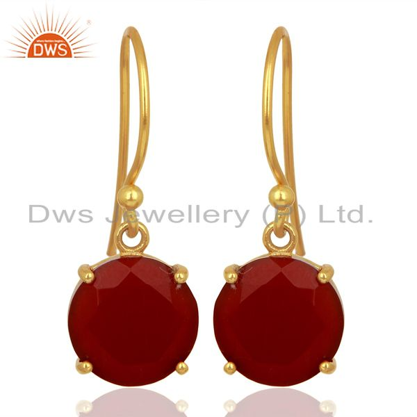 Red Onyx Flat Shape Pefect Drop 14K Gold Plated Wholesale 92.5 Silver Earring