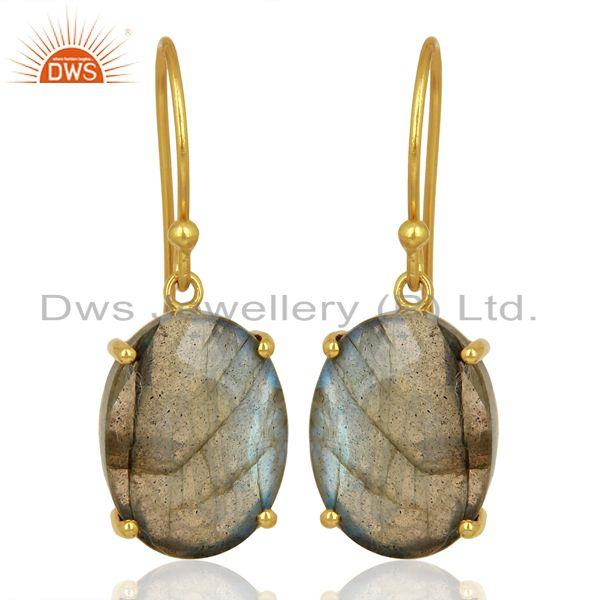 Labradorite Flat Shape Pefect Oval Drop 14K Gold Plated Wholesale Silver Earring