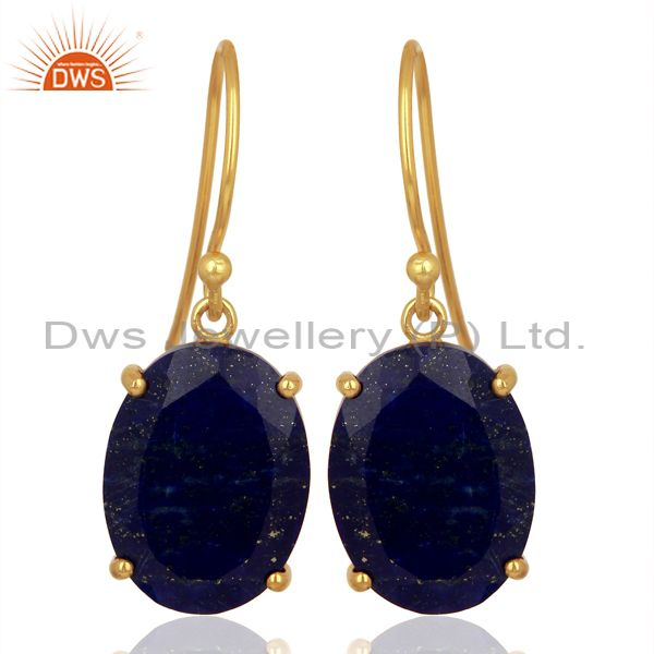 Lapis Flat Shape Pefect Oval Drop 14K Gold Plated Wholesale Silver Earring