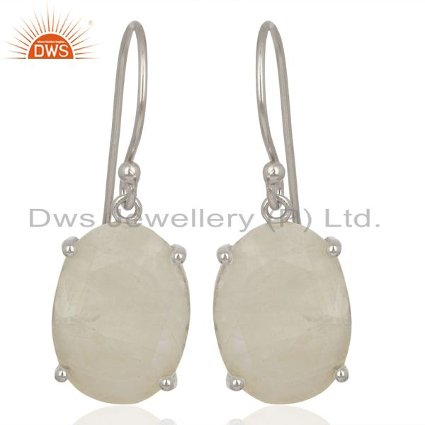Moon Stone Flat Shape Pefect Oval Drop Wholesale 92.5 Sterling Silver Earring