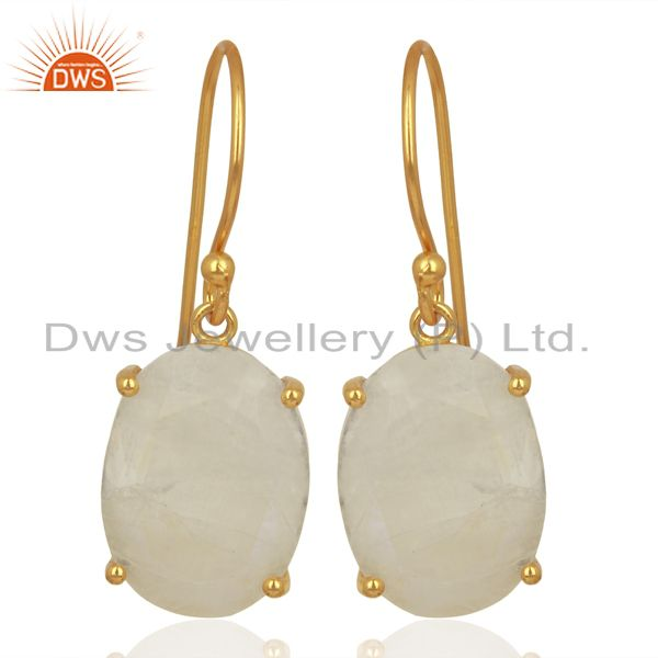Moonstone Flat Shape Pefect Oval Drop 14K Gold Plated Wholesale Silver Earring