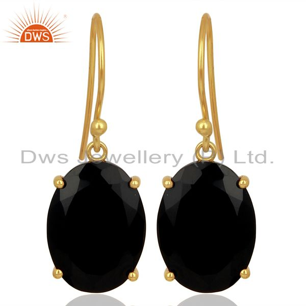 Black Onyx Flat Shape Pefect Oval Drop 14K Gold Plated Wholesale Silver Earring
