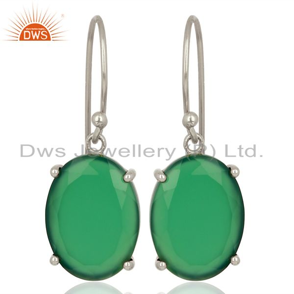 Green Onyx Flat Shape Pefect Oval Drop Wholesale 92.5 Sterling Silver Earring