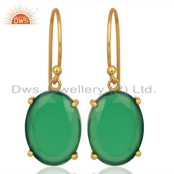 Green Onyx Flat Shape Pefect Oval Drop 14K Gold Plated Wholesale Silver Earring