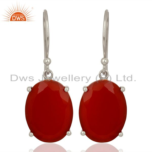 Red Onyx Flat Shape Pefect Oval Drop Wholesale 92.5 Sterling Silver Earring
