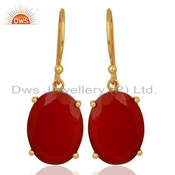 Red Onyx Flat Shape Pefect Oval Drop 14K Gold Plated Wholesale Silver Earring