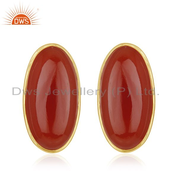 18k Gold Plated 925 Sterling Silver Carnelian Gemstone Stud Earrings Wholesale
