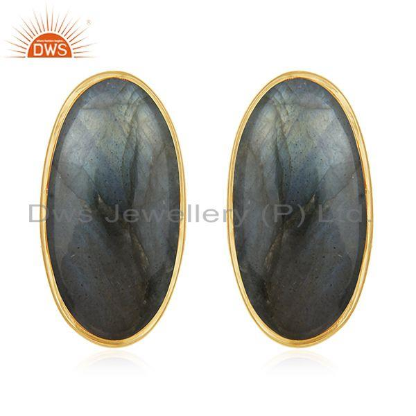 Natural Labradorite Gemstone 14k Gold Plated 925 Silver Stud Earring For Womens
