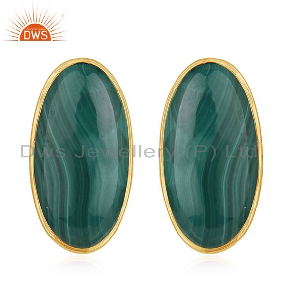 Natural Malachite Gemstone Gold Plated 925 Silver Stud Earring for Girls Jewelry