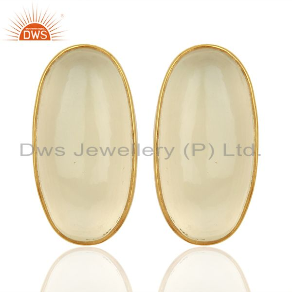 White Chalcedony Oval Bezel Set 925 Sterling Silver 14K Gold Plated Stud Earring