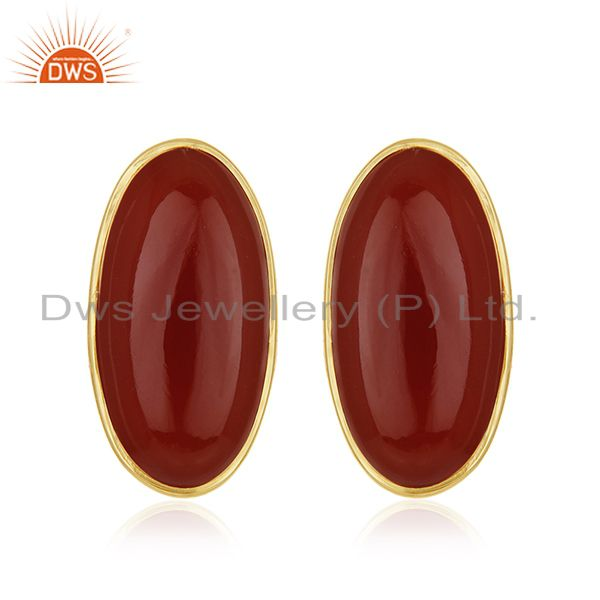 Red Onyx Gemstone 925 Silver Gold Plated Stud Earring Manufacturer