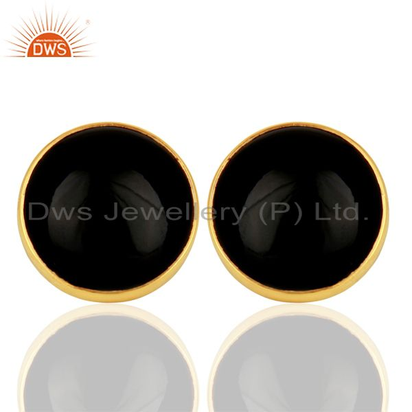 Black Onyx Round  Bezel Set 925 Sterling Silver 14K Gold Plated Stud Earring