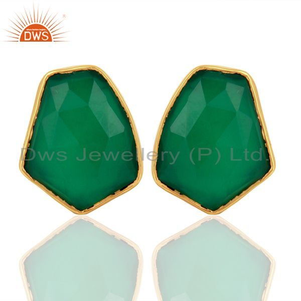 Green Onyx Unshape Bezel Set 925 Sterling Silver 14K Gold Plated Stud Earrings