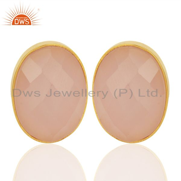 Rose Chalcedony Faceted Oval  Bezel Set Sterling Silver Gemstone Stud Earrings