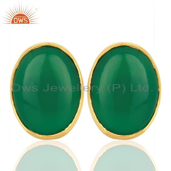Green Onyx Oval  Bezel Set Sterling Silver Gemstone Jewellery Stud Earrings