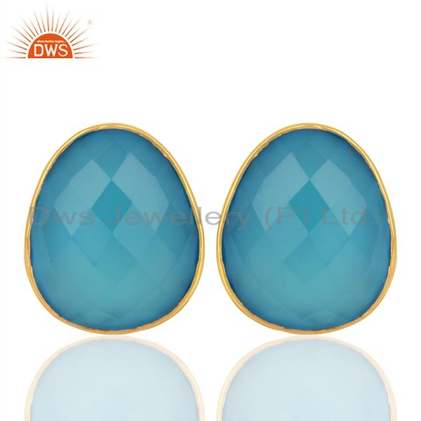 Blue Chalcedony Gemstone Faceted Egg Shape Bezel Set 925 Sterling Silver Studs