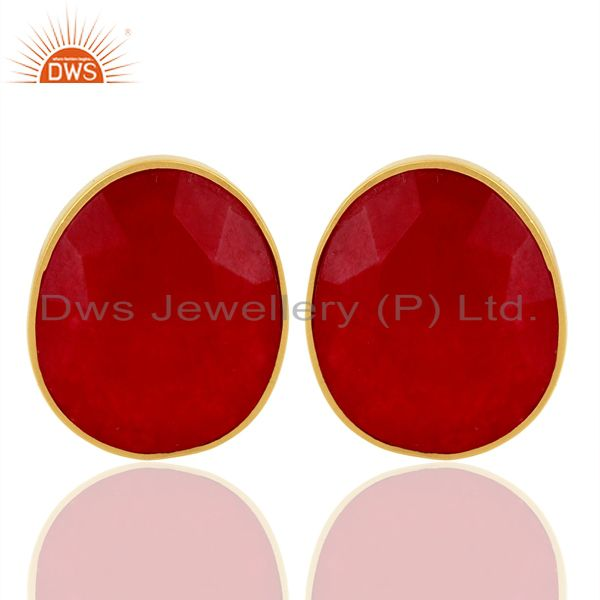 Natural Red Aventurine Gemstone Faceted Egg Shape Bezel Set Sterling Silver Stud