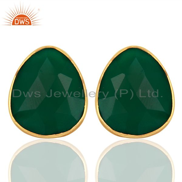 Green Onyx Gemstone Faceted Pear Shape Bezel Set Sterling Silver Stud Earrings