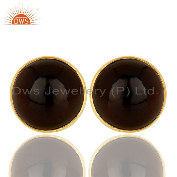Smoky Topaz Round  Bezel Set 925 Sterling Silver 18K Gold Plated Stud Earrings