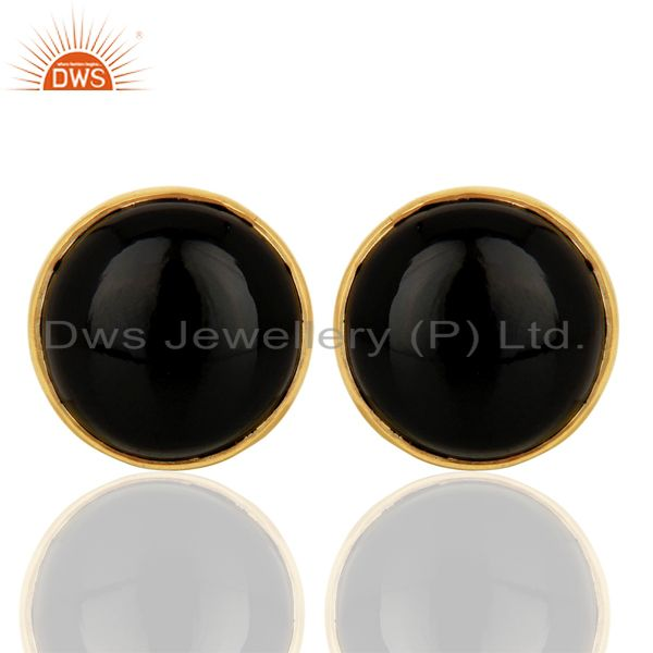 Black Onyx Round  Bezel Set 925 Sterling Silver 18K Gold Plated Stud Earrings