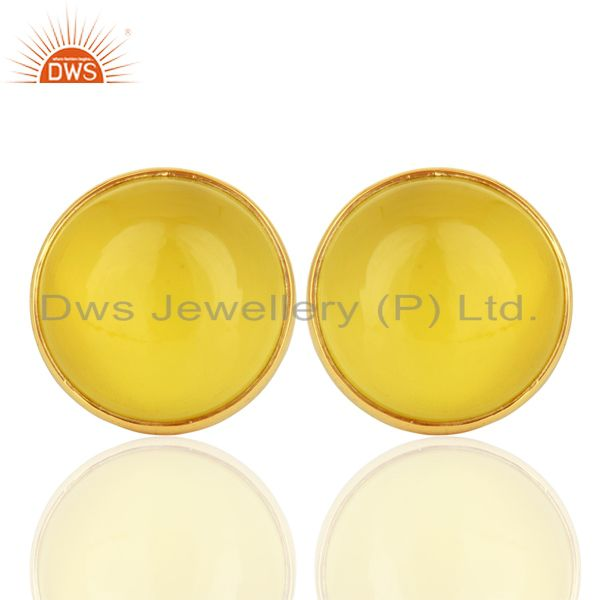 Yellow Onyx Round  Bezel Set 925 Sterling Silver 18K Gold Plated Stud Earrings