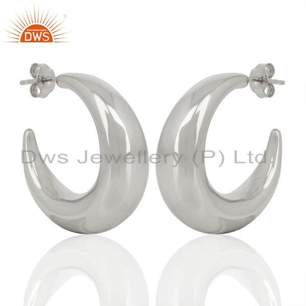Large Hollow Half Hoop 925 Sterling Silver Silver Plated Earrings