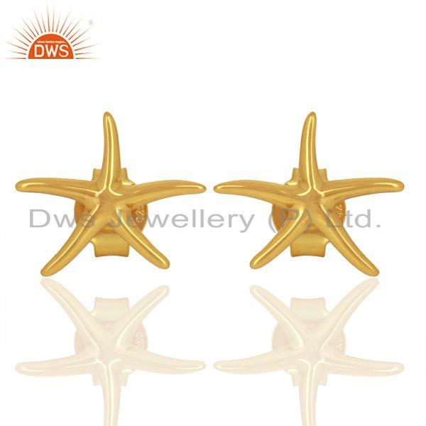 Gold Plated Star Design Plain Silver Stud Earring For Girls Jewelry
