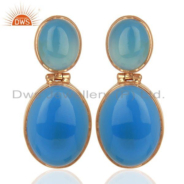 Rose Gold Plated 925 Silver Blue Chalcedony Gemstone Earrings Supplier