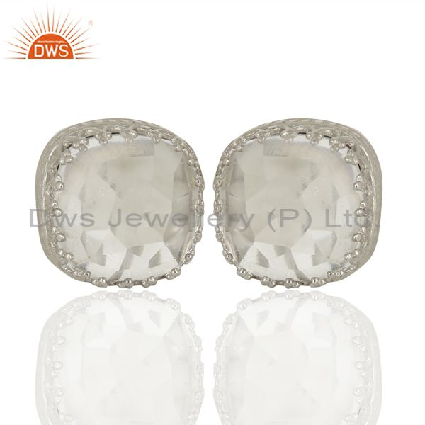 925 Sterling Silver Crystal Quartz Gemstone Stud Earrings Manufacturer