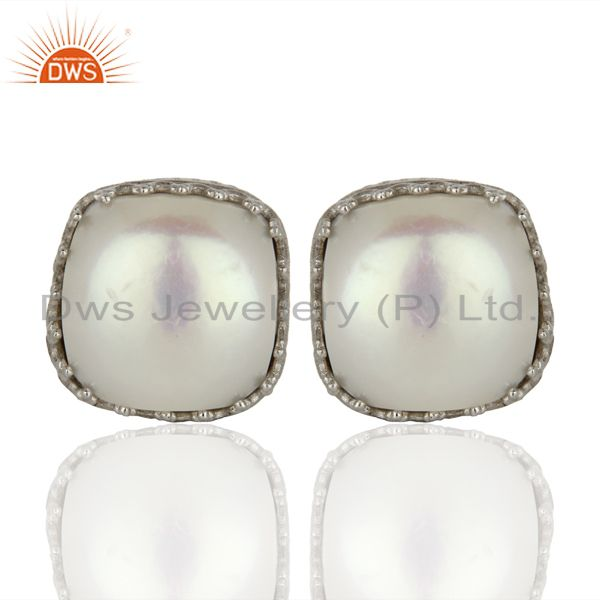 925 Silver Crown Design Natural Pearl Gemstone Stud Earrings Supplier