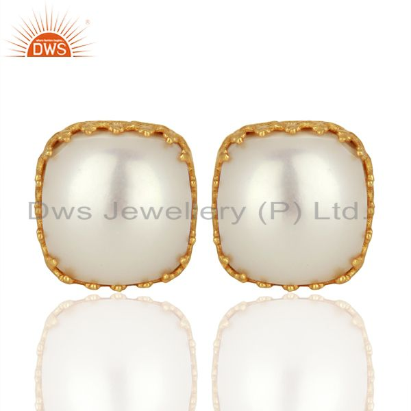 Crown Design Gold Plated Silver Natural Pearl Gemstone Stud Earrings