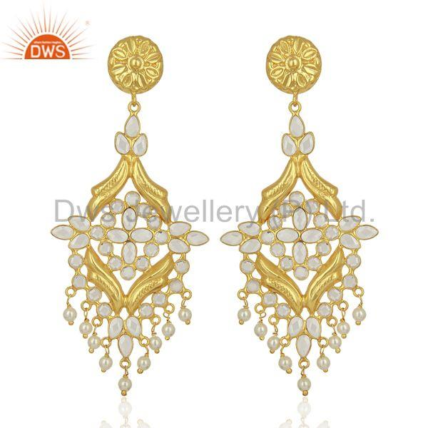 CZ Pearl Gemstone Gold Plated Silver Traditional Earrings Manufacturer