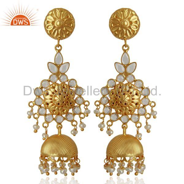 CZ Gold Plated Silver Womens Traditional Earrings Manufacturer
